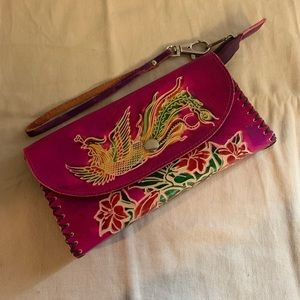 Handbags - Tooled leather peacock clutch wristlet